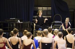 Lauren talks with students
